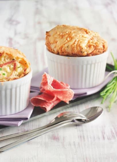 Kartoffel-Souffle mit Aoste Baguette-Salami